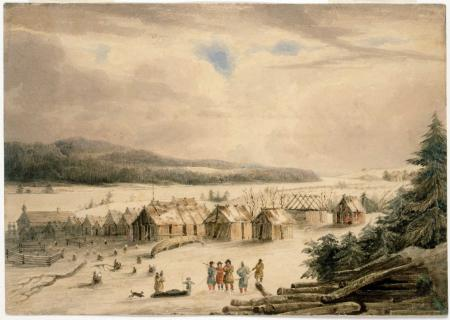 Painting of the Indian Village on the River St. John above Fredericton